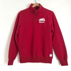 Roots Red Mock Neck Quarter Zip Pullover Sweater